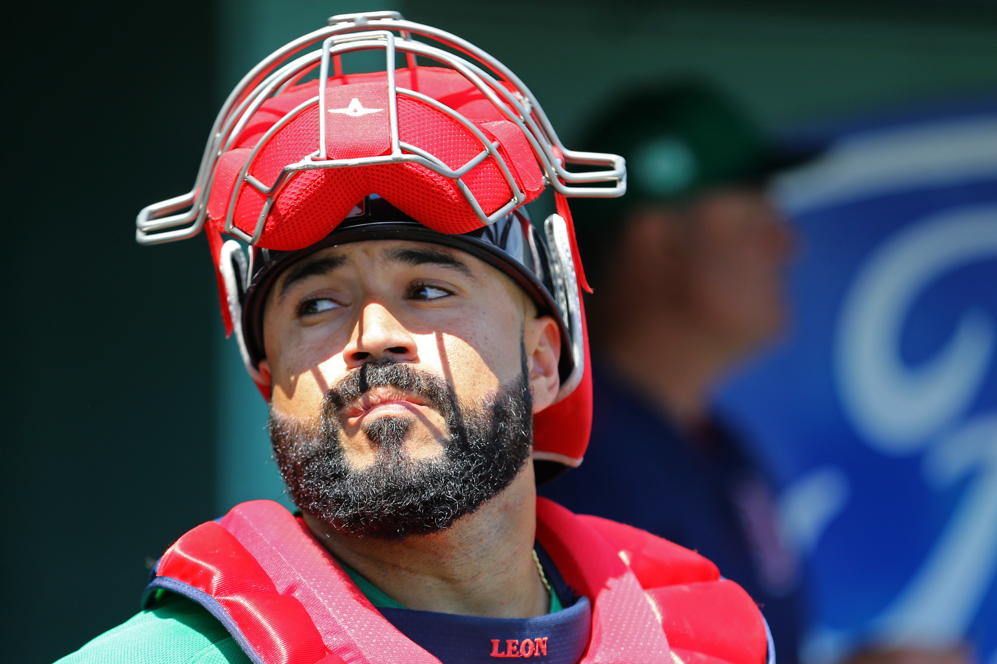 Mar 17, 2017; Fort Myers, FL, USA; Boston Red Sox catcher Sandy Leon (3) against the Houston Astros at JetBlue Park. The Astros won 6-2.